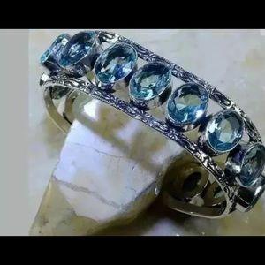 Blue Quartz Bangle Bracelet With Oval Design